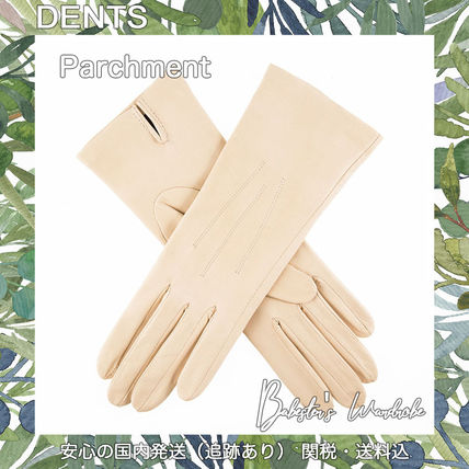 DENTS Silk Plain Leather Bold Leather & Faux Leather Gloves
