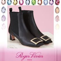 Roger Vivier Square Toe Casual Style Plain Leather Block Heels