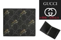 GUCCI GG Supreme Canvas Other Animal Patterns Leather Folding Wallets