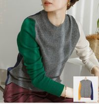 Casual Style Cashmere Long Sleeves Medium Cashmere