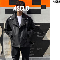 ASCLO Faux Fur Street Style Collaboration Plain Biker Jackets