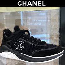 CHANEL Suede Blended Fabrics Plain Logo Sneakers