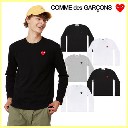 Crew Neck Heart Unisex Street Style Long Sleeves Plain