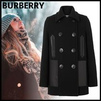Burberry Short Wool Plain Elegant Style Peacoats
