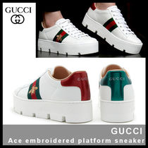 GUCCI Ace Casual Style Unisex Street Style Leather Elegant Style