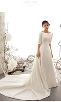 Cropped Plain Long Wedding Dresses