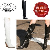 Steve Madden Plain Leather Block Heels Party Style Over-the-Knee Boots