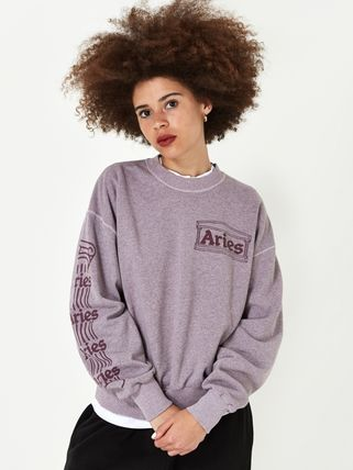 Crew Neck Unisex Sweat Street Style Long Sleeves Plain
