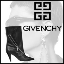 GIVENCHY Plain Leather Block Heels Office Style High Heel Boots