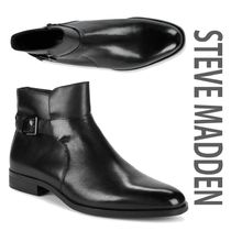Steve Madden Plain Toe Plain Leather Engineer Boots
