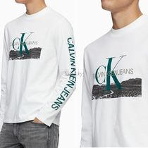 Calvin Klein CALVIN KLEIN JEANS Crew Neck Street Style Cotton Logos on the Sleeves