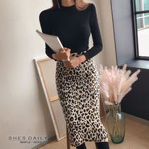 Leopard Patterns Casual Style Tight Long Sleeves Plain