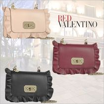 RED VALENTINO Dots Leather Party Style Shoulder Bags