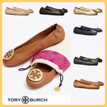 Tory Burch Round Toe Plain Leather Flats
