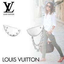 Louis Vuitton Casual Style Studded Chain Elegant Style Asymmetry Earrings