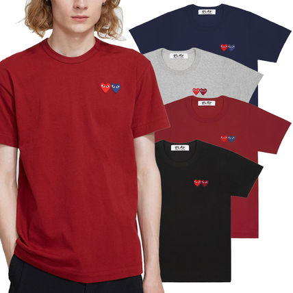 Crew Neck Heart Unisex Street Style Plain Cotton