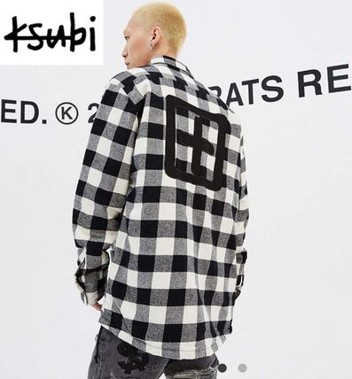 Button-down Other Plaid Patterns Long Sleeves Cotton Shirts