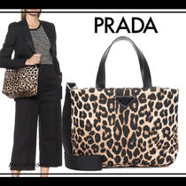 PRADA Leopard Patterns Casual Style Nylon Blended Fabrics 2WAY