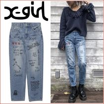 X-Large Heart Flower Patterns Denim Street Style Plain Long