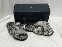 EMU Australia Zebra Patterns Open Toe Rubber Sole Sheepskin Fur Sandals
