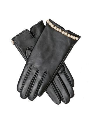 Plain Leather With Jewels Leather & Faux Leather Gloves