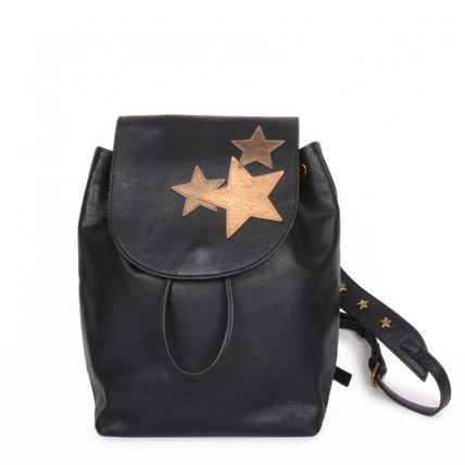 Star Casual Style Leather Backpacks