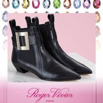 Roger Vivier Casual Style Plain Leather Block Heels Elegant Style
