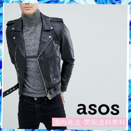 Plain Leather Biker Jackets