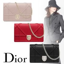 Christian Dior DIORAMA Calfskin 2WAY Chain Plain Party Style Elegant Style Clutches