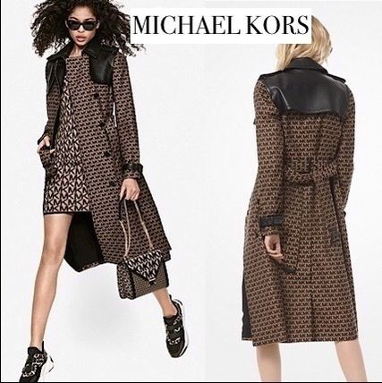 Michael Kors Monogram Long Elegant Style Peacoats