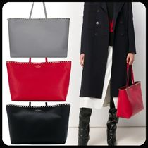 VALENTINO Casual Style Calfskin Totes