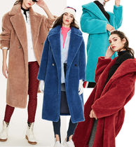 Faux Fur Fur Blended Fabrics Plain Long Fur Leather Jackets