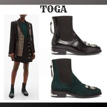 TOGA Casual Style Plain Mid Heel Boots