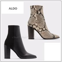 ALDO Rubber Sole Plain Leather Python Ankle & Booties Boots