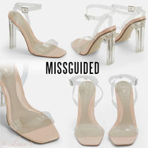 Missguided Square Toe Block Heels PVC Clothing Elegant Style