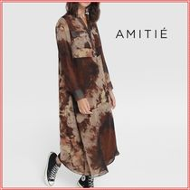 A-line Tie-dye V-Neck Long Dresses