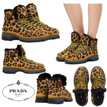 PRADA Leopard Patterns Rubber Sole Casual Style Leather