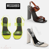 Missguided Open Toe Block Heels PVC Clothing Elegant Style