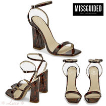 Missguided Open Toe PVC Clothing Elegant Style Chunky Heels