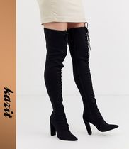 ASOS Lace-up Casual Style Faux Fur Block Heels