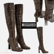 Missguided Faux Fur Block Heels Elegant Style Boots Boots