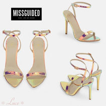 Missguided Open Toe Pin Heels Python Elegant Style Heeled Sandals