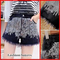 Short Casual Style Denim Blended Fabrics Fringes