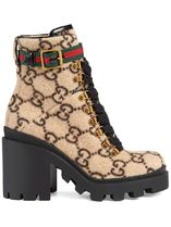 GUCCI Monogram Mountain Boots Round Toe Rubber Sole Casual Style