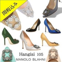 Manolo Blahnik Hangisi Plain Pin Heels Party Style With Jewels Elegant Style