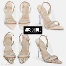 Missguided Open Toe Pin Heels PVC Clothing Python Elegant Style