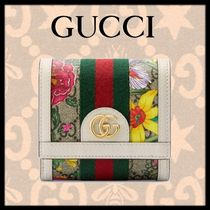 GUCCI Ophidia Flower Patterns Folding Wallets