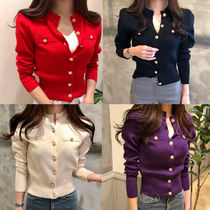 Plain Medium Elegant Style Cardigans