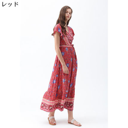 Wrap Dresses Flower Patterns Paisley Casual Style Maxi