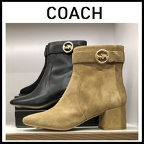 Coach Rubber Sole Plain Leather Ankle & Booties Boots